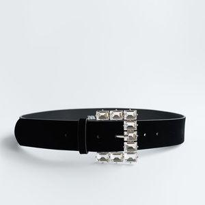 ZARA Belt With Bejeweled Buckle